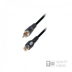 5M M/F  1RCA Plug To 1RCA Jack Nickel